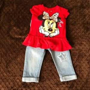 🆕 Baby Girl Minnie Mouse Shirt w/ Old Navy Jeans